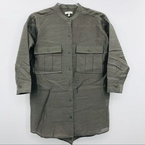 Joie XS Olive Army Green Button Down Top pockets